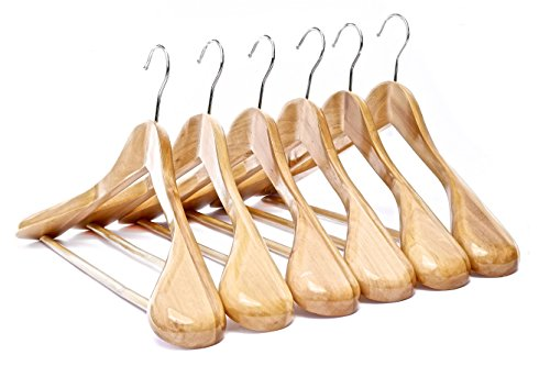 Clutter Mate Wooden Suit Hangers Wide Shoulders Natural Wood Hanger 6-Pack by Clutter Mate (Image #1)