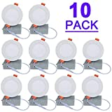 LUCKYWIN 4inch DIM LED Slim Pot Light/Recessed Ceiling with Junction Box,Dimmable IC Rated,9W 750LM 10PACK 5000K