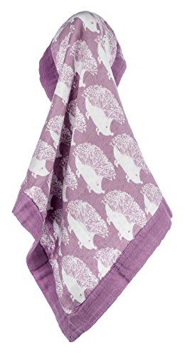 Milkbarn Bamboo and Cotton Mini Lovey Baby Blanket - Lavender Hedgehog