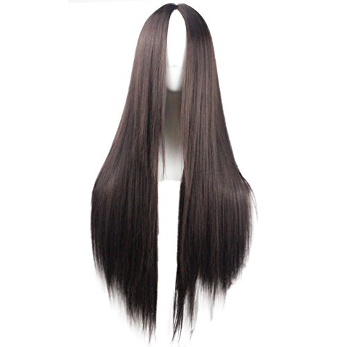 VIMIKID 30'' 75cm Long Straight Dark Brown Middle Parting Heat Resistant Synthetic Full Hair Cosplay Party Wig by VIMIKID