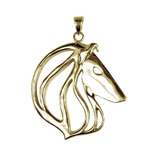Hunting Horn Jewelry 14K Yellow Gold Collie (Rough) Cut Out Charm Pendant Size 1.25