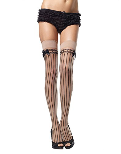 Leg Avenue Women's Striped Thigh Highs, Nude/Black, One Size (Leg Avenue Satin Garter)