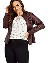 Women's Plus Size Elbow Stitched Faux Leather Jacket