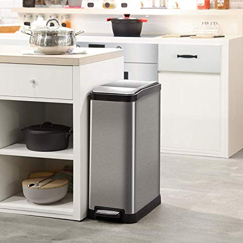 Home Zone Stainless Steel Kitchen Trash Can with Dual Compartment Recycle Bin, Rectangular Design and Step Pedal | 40 Liter / 10.6 Gallon Storage with 2-Removable Plastic Liners, Silver by Home Zone (Image #6)