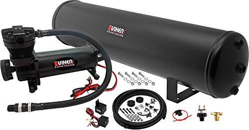 Vixen Air 5 Gallon (18 Liter) Steel Tank with 200 PSI Black Compressor Onboard System/Kit for Suspension/Train Horn 12V VXO4852B