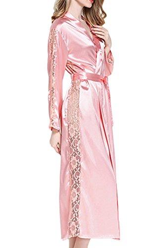 Asherbaby Women's Satin Bridesmaid Long Kimono Robe Lace Trim Lingerie Sleepwear Pink