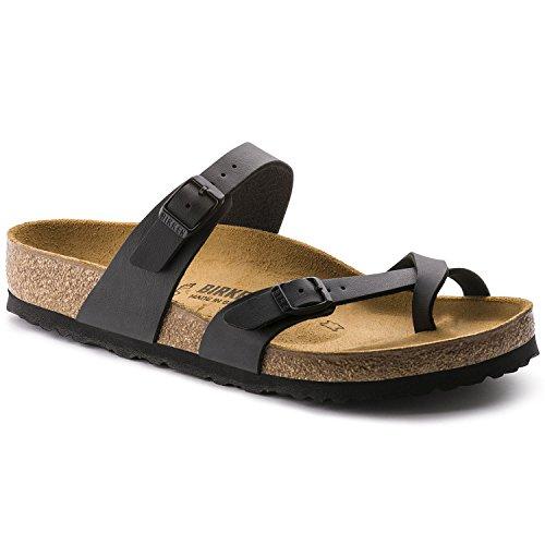 Birkenstock Mayari (Women's) Cork-Footbed Flat Sandals in Matte Black 38 M EU / 7-7.5 B(M) US Women