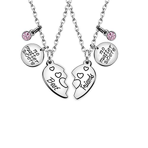 Maxforever Best Friend Crystal Pendant Necklace Stainless Steel (Silver/Pink)
