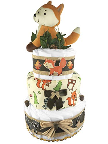 Woodland Creatures 3-Tier Diaper Cake - 50 Size 1 Diapers - Baby Shower Gift - Gender Neutral - -