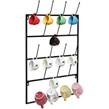 5 Tier Black Metal Wall Mounted Kitchen Mug Hook Display / Cup Storage Organizer Hanger Rack - MyGift