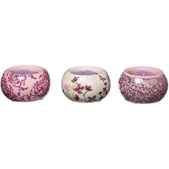 Up Words by Pavilion Pink Mini Tea Light Candle Holders, Set of 3, Each 2-1/2-Inch Long, Tea Light Candles Included
