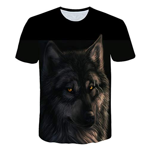 Zackate Mens 3D Wolf Printing Short Sleeve T-Shirts Casual Plus Size Round Neck Sweatshirts Tee Tops Black