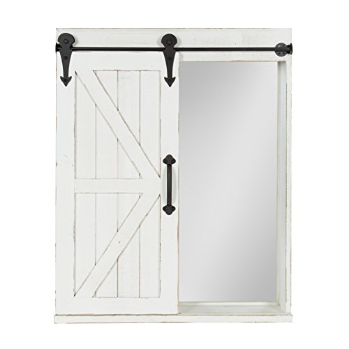 Kate and Laurel - Cates Wood Wall Storage Cabinet with Vanity Mirror and Sliding Barn Door, Rustic (Swing Frame Accent)