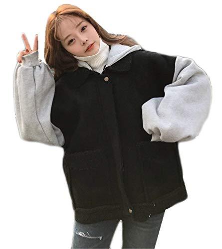 Cute Baggy Lunga Cerniera Schwarz Manica Bicolore Elegante Outerwear Con Moda Outwear Casual Camoscio Pulsante Invernali Donna Cappuccio Chic Di Giubbino Giacca Bavero Giaccone gafzO