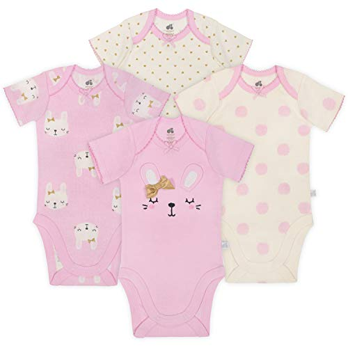 JUST BORN Baby Girls' 4-Pack Organic Short-Sleeve Bodysuit, Bunny, 0-3 Months