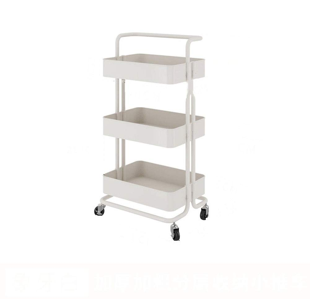 Kitchen Shelf Flooring Multi-layer Removable Pulley Storage Rack Trolley Seasoning Shelf Thickening Rugged Durable 42.535.586.8cm (Color : White, Size : 42.535.586.8cm)
