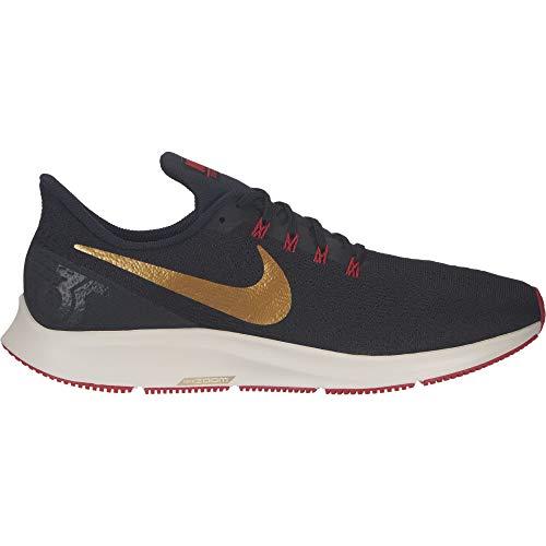 buy online bf036 645c4 Nike Men s Air Zoom Pegasus 35 Running Shoe, Black Metallic Gold University  Red