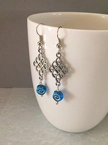Blue Beaded Dangle Earrings Drop Swirl Women's Fashion Jewelry (Swirl Connector)