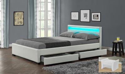 Drawer Night Lit PU Blanc Mat Tete DE Lit Lumineuse A LED avec 4 ...