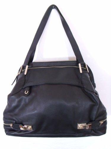 BESSO Black Leather Luxury Italian Tote Bag Handbag Purse