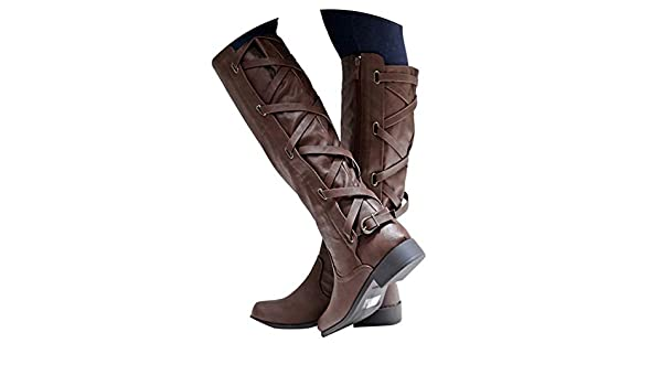 Amazon.com | Botines Shoes Woman Buckle Roman Riding Knee High Cowboy Boots Women Casual Boots Botas, Coffee, 7.5, C | Knee-High