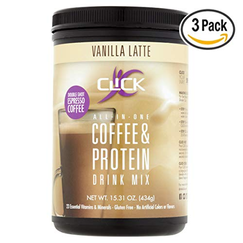 CLICK All-In-One Protein & Coffee Meal Replacement Drink Mix, Vanilla Latte, 15.3 Ounce (Pack of 3)