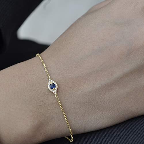 Genuine Blue Sapphire Gemstone Evil Eye Bracelets in Solid 14k Yellow Gold SI Clarity G Color Diamond Minimalist Bracelets Jewelry Gift ()