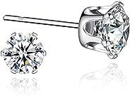 Sterling Silver Cubic Zirconia Stud Earrings Sensitive Ears(3mm,4mm,5mm,6mm,7mm,8mm)