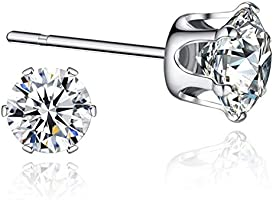 Sterling Silver Cubic Zirconia Stud Earrings Sensitive Ears(3mm,4mm,5mm,6mm,7mm,8mm)