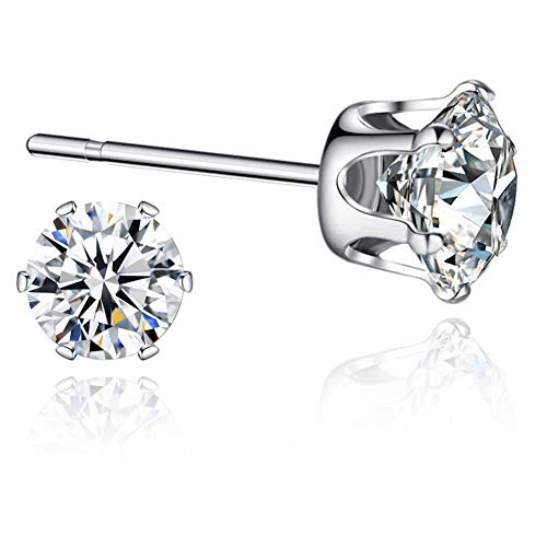 Sterling Silver Swarovski Cubic Zirconia Stud Earrings Sensitive Ears 6mm...