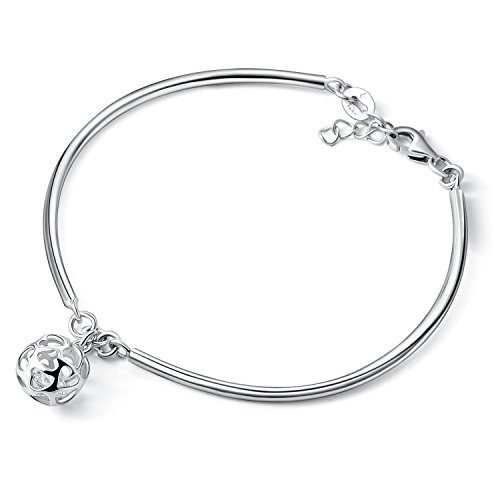 Sterling Silver Filigree Heart Charm (SA SILVERAGE Sterling Silver 925 Heart Filigree Ball Charm Bracelet)