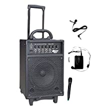Pyle-Pro 300W Dual Channel Wireless Rechageable Portable PA System with Handheld Mic and Lavalier/Headset Mic PWMA370 (Discontinued by Manufacturer)