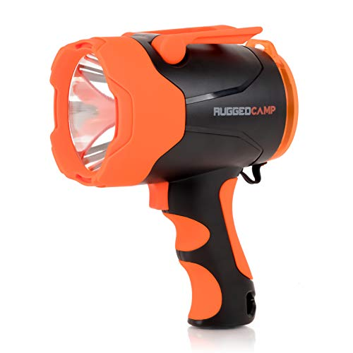 TITAN M10 Rechargeable Spotlight 10W LED - 1000 Lumens High Powered Flashlight - Built In Stand & Phone Charger - Perfect For Camping, Hiking, Emergencies & Outdoors - Charging Cables Included (Spotlight Rechargable Handheld)