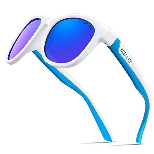 Kids Sunglasses (Kids Polarized Sunglasses for Boys Girls Children Wayfarer UV Protection Flexible with Strap Glasses)