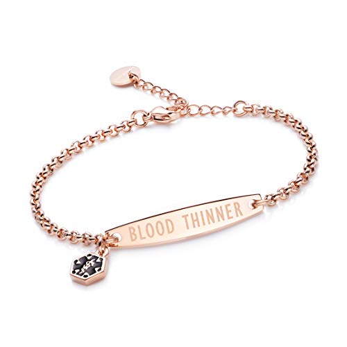 ed Blood THINNER Rose Gold Simple Rolo Chain Medical id Bracelet for Women & Girl ()