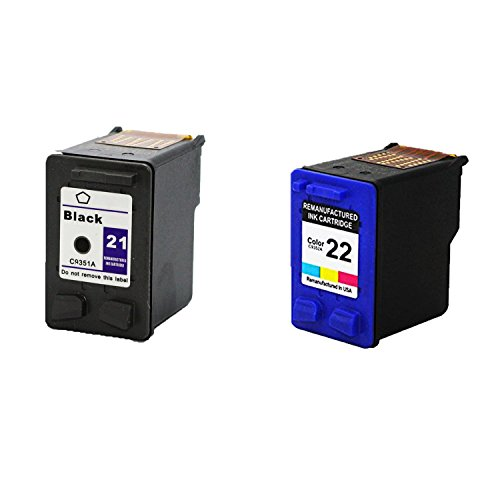 Remanufactured Ink Cartridge Replacement for HP 21 + HP 22 (1 Color 1 Blakc 2 Pack)