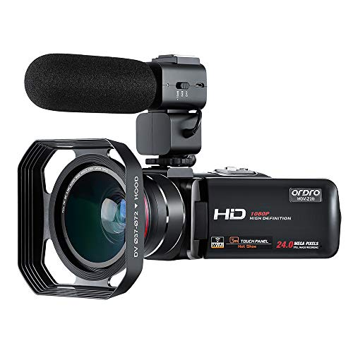 Camcorder, ORDRO Video Camera Digital Camcorder Full HD 1080P 30FPS WiFi Camera Camcorders with Microphone, Wide Angle Lens, Lens Hood (HDV-Z20)