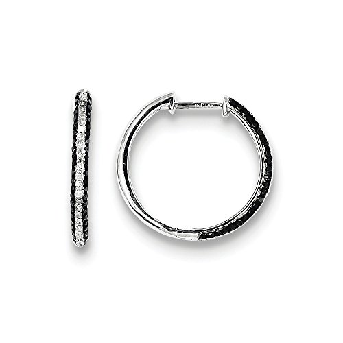 Sterling Silver Black and White Diamond Hoop Earrings by CoutureJewelers