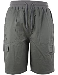Men's Cotton Cargo Shorts with Pockets Loose Fit Outdoor Wear Twill Elastic Waist Shorts