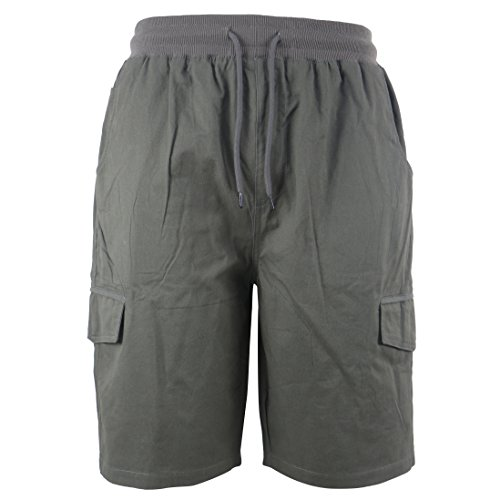 Tanbridge Men's Cotton Cargo Shorts with Pockets Loose Fit Outdoor Wear Twill Elastic Waist Shorts Grey 32 ()