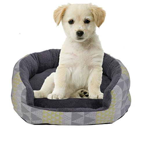 Nunubee Canvas Pet Bed Oval Dog Kennel Pet Nest Cat Pad Waterloo Printing S-18x14.4x6 Inch
