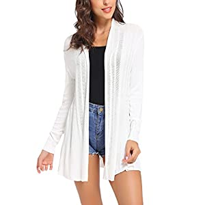iClosam Women Open Front Cardigans Long Sleeve Lightweight Knit Cardigan Sweater