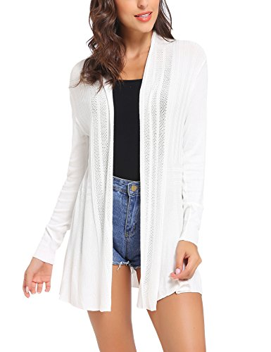 iClosam Womens Casual Long Sleeve Open Front Cardigan Sweater (White, XX-Large)