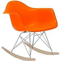 POLY & BARK EM-121-ORA-AMA Rocker Lounge Chair, Orange