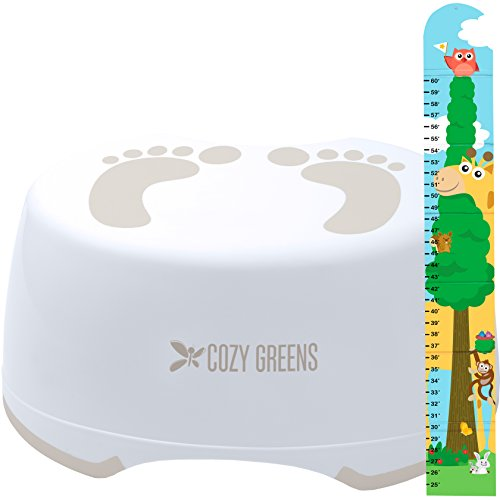 Step Stool for Children | Anti-Slip Top and Bottom | Easy Hygienic Cleaning | FREE Potty Training eBook | Perfect height for Toddler Toilet Training or Kids Bathroom and Kitchen (beige)
