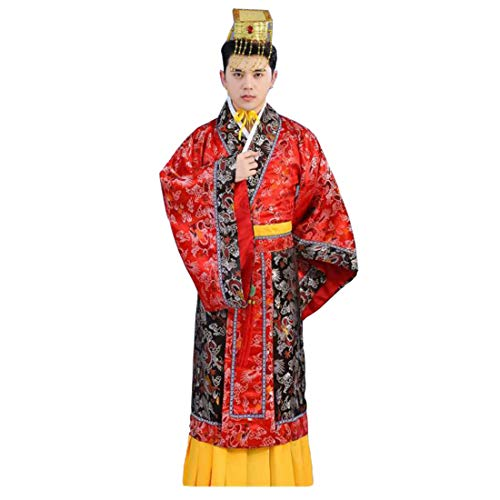 Ez-sofei Men's/Boys Ancient Chinese Han Dynasty Costumes Hanfu Robes (150, F-Red&Black) -
