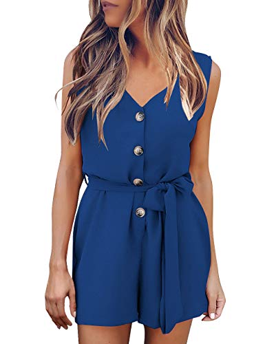 GRAPENT Women's V Neck Sleeveless Button Front Self Tie Romper Jumpsuit Royal Blue Size XL (Button Romper)