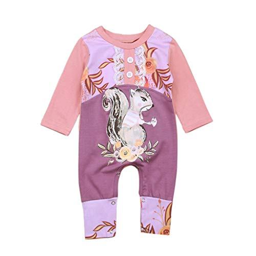 Romper Clothes Set for Newborn Baby Boys Girls Cartoon Print Long Sleeve Jumpsuit Sunsuit Outfits (Age: 3-6Months, Pink)