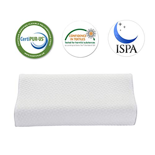 Memory Foam Pillow, Iyee Nature by Molblly Adjustable Bed Queen Pillows for Sleeping, CertiPUR-US Approved, Adjustable Height Neck Cervical Pillow for Side/Back/Stomach Sleepers