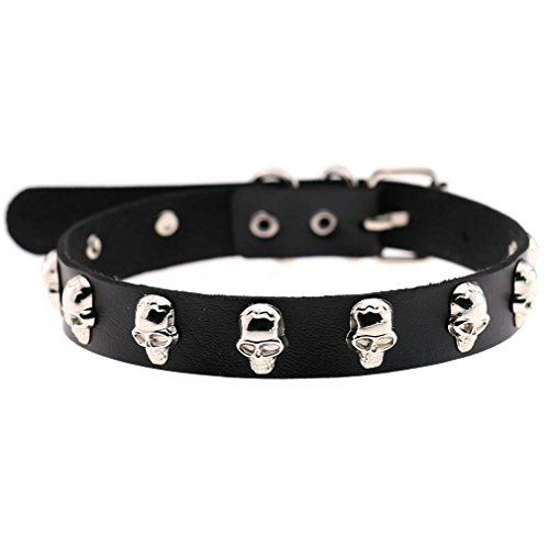 FM42 Black 1.8cm Width Skull Rivets PU Simulated Leather Necklace Neckband Buckle Choker PN1689 (Studded Leather Choker)
